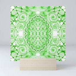 Green Zentangle Tile Doodle Design Mini Art Print