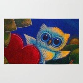 TINY BLUE OWL - VALENTINE'S HEART Rug