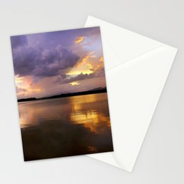 Panoramic. Sunset at the lake after the storm. End of the summer. Stationery Cards