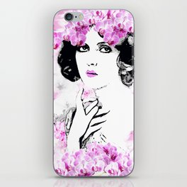 CLARA WOMAN PINK ORCHIDS AND MAGNOLIAS iPhone Skin