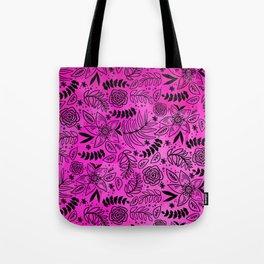 Black Outline Floral on Hot Pink Watercolor Tote Bag