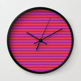 Even Horizontal Stripes, Red and Purple, S Wall Clock