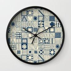 wolf geo blue ivory Wall Clock