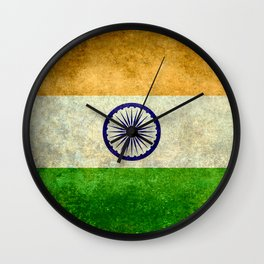 Flag of India - Retro Style Vintage version Wall Clock