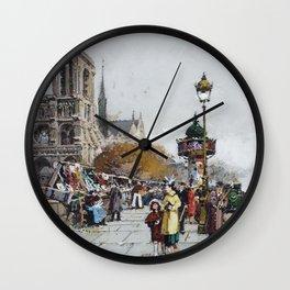 Notre-Dame vue du quai Saint-Michel, Paris by Eugène Galien Laloue Wall Clock