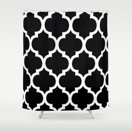 Moroccan Black and White Lattice Moroccan Pattern Shower Curtain