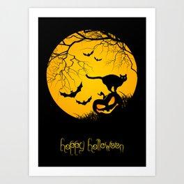 happy halloween graphic illustration Art Print