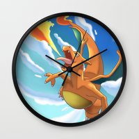 charizard Wall Clocks featuring Charizard by Pablo Rey