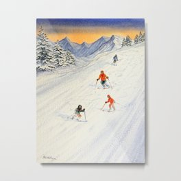 Skiing Family On The Slopes Metal Print