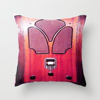radio Throw Pillows featuring Vintage Radio by 2sweet4words Designs