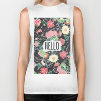 preppy Biker Tanks featuring Pastel preppy flowers Hello typography chalkboard by Girly Trend