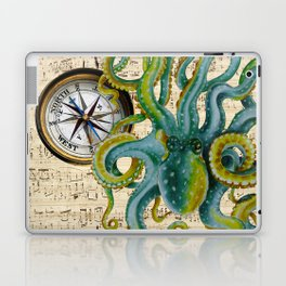 Octopus Compass Green Music Collage Laptop & iPad Skin