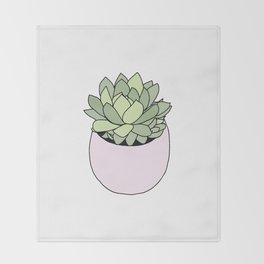 Suculent in flowerpot Throw Blanket