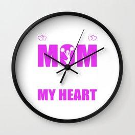 Cheerleader Moms Full Heart Mothers Day T-Shirt Wall Clock