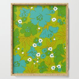 Green, Turquoise, and White Retro Flower Design Pattern Serving Tray
