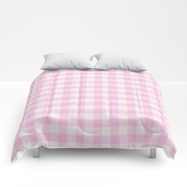 Blush pink white gingham 80s classic picnic pattern Comforters