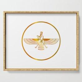 Prophet Zarathustra, Zarathushtra Spitama, or Ashu Zarathushtra- symbols of Zoroastrianism Farvahar Serving Tray