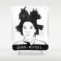 cassandra jean Shower Curtains featuring jean michel by b & c