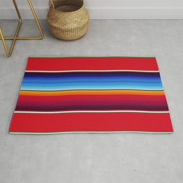 Traditional Mexican Serape in Red Multi Rug