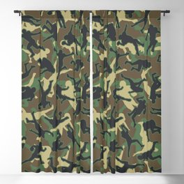 American Football Player Camo Woodland Camouflage Pattern Blackout Curtain