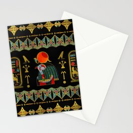 Egyptian Horus Ornament in colored glass and gold Stationery Cards