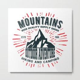 Mountains stamp print design Metal Print