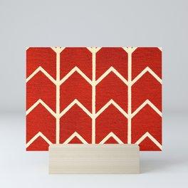 Red and White Chevron Print Mini Art Print