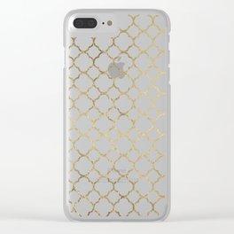 Elegant stylish white faux gold quatrefoil Clear iPhone Case