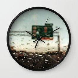 driving on a rainy day Wall Clock