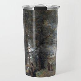 Jean-Baptiste-Camille Corot Ville d'Avray, Woodland Path Bordering the Pond Travel Mug