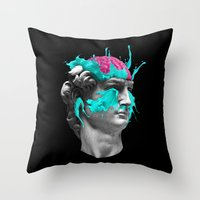 dave matthews Throw Pillows featuring Dave Brain by CORSAC / Julien Missaire