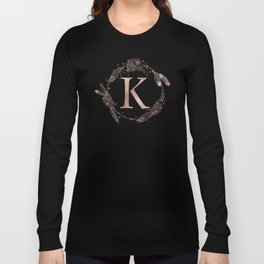Letter K Rose Gold Pink Initial Monogram Long Sleeve T-shirt