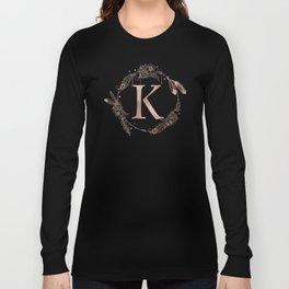 Letter K Rose Gold Pink Initial Monogram Long Sleeve T-shirt