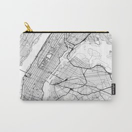 New York City Map United States White and Black Carry-All Pouch