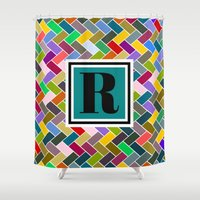 monogram Shower Curtains featuring R Monogram by mailboxdisco