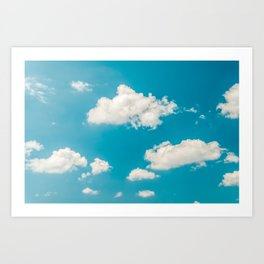 Deep Blue Summer Sky, White Clouds On Turquoise Sky, Heaven Scenery, Wall Art, Poster Decor Art Print