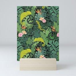 Chameleons And Salamanders In The Jungle Pattern Mini Art Print