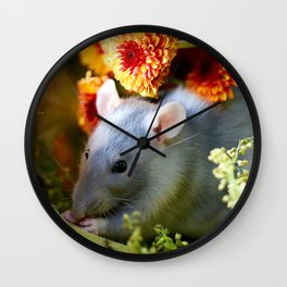 Sweet Floral Rat Wall Clock