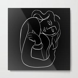 Matisse Line art Woman Black Metal Print