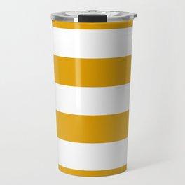 Golden Honey and White Large Stripes Pattern Travel Mug
