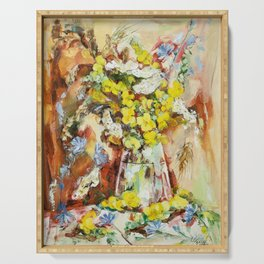 Yellow And Blue Field Flowers Serving Tray