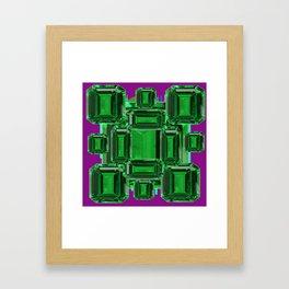Emerald Gems May Babies Birthstones on Purple Framed Art Print