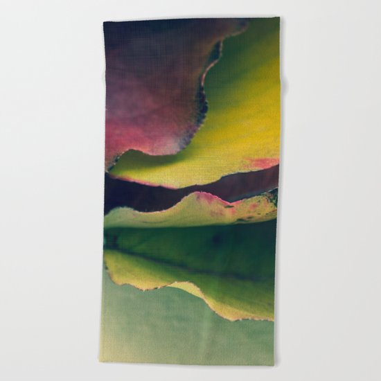 Fall Leaves II - Yellow, Lime Green, Red Purple Beach Towel