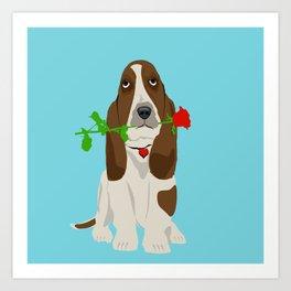 Basset Hound Dog in Love Art Print