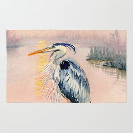 Great Blue Heron at Sunset Rug