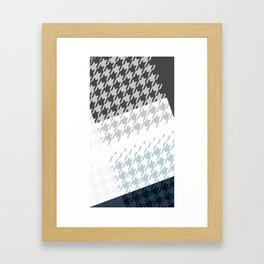 Modern Houndstooth Reinterpreted A – Navy / Gray / White Checked Pattern Framed Art Print