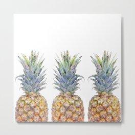 Watercolor Sketch Pineapple Trio Metal Print