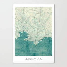 Montevideo Map Blue Vintage Canvas Print