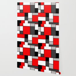 Red Black and Grey squares Wallpaper
