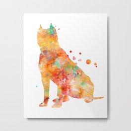 American Staffordshire Terrier Watercolor Painting 2 Metal Print